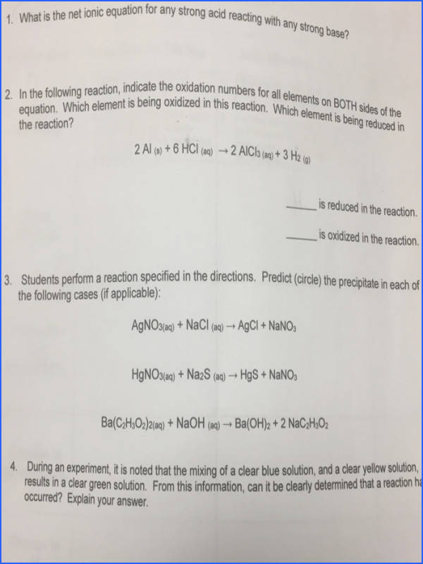 tion for is the net ionic equation for any strong acid reacting with any strong base