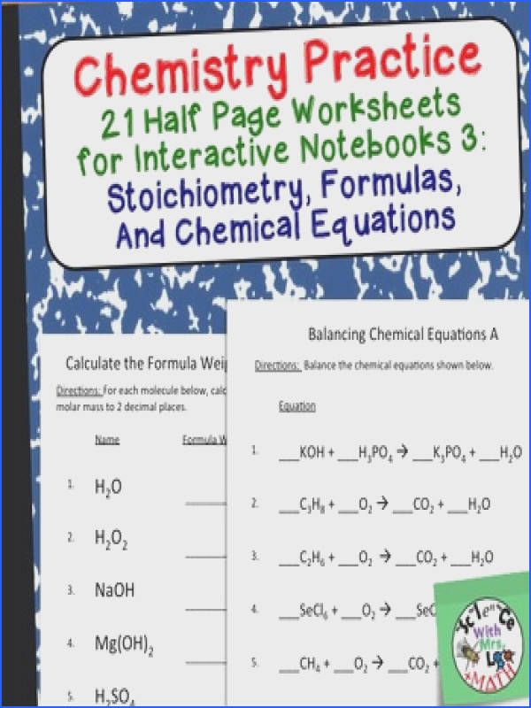 Chemistry Worksheets 3 for Interactive Notebooks Stoichiometry