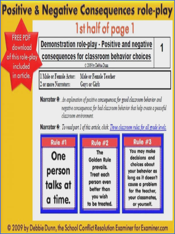 Positive and negative consequences for classroom behavior choices National School Conflict Resolution