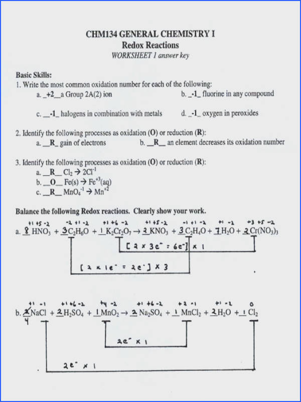 Balancing Redox Equations 1 answer key