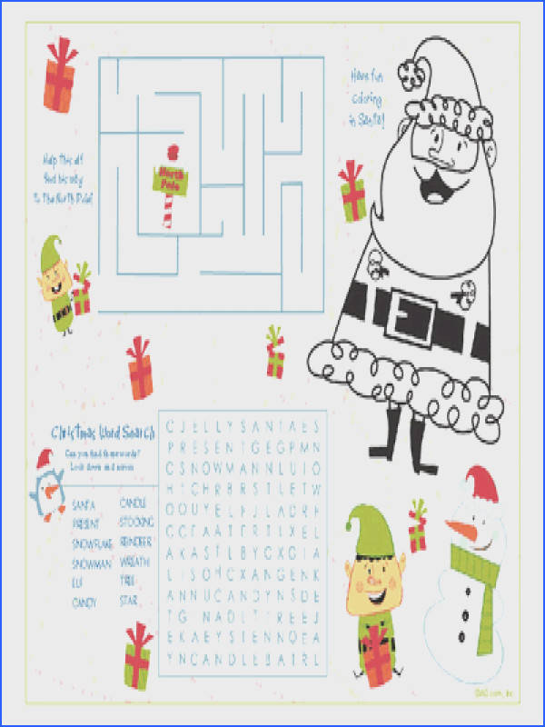 Christmas activity sheets for kids