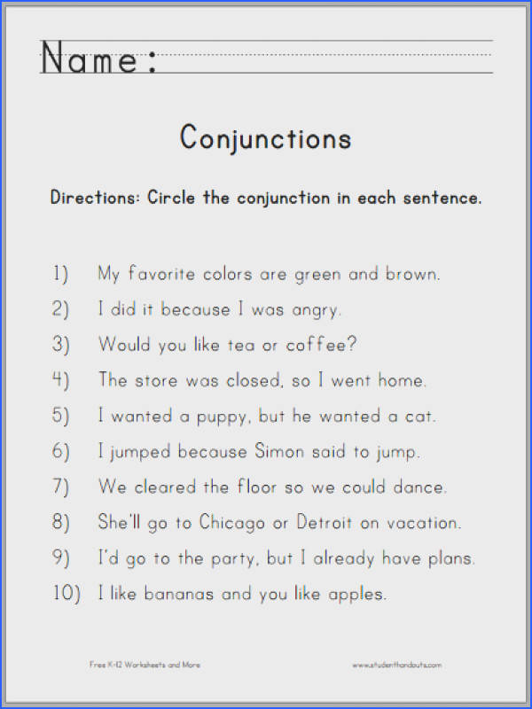 Students are asked to read each sentence then circle the conjunction