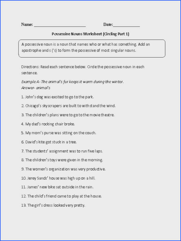 This possessive nouns worksheet directs the student to circle the possessive noun in each given sentence
