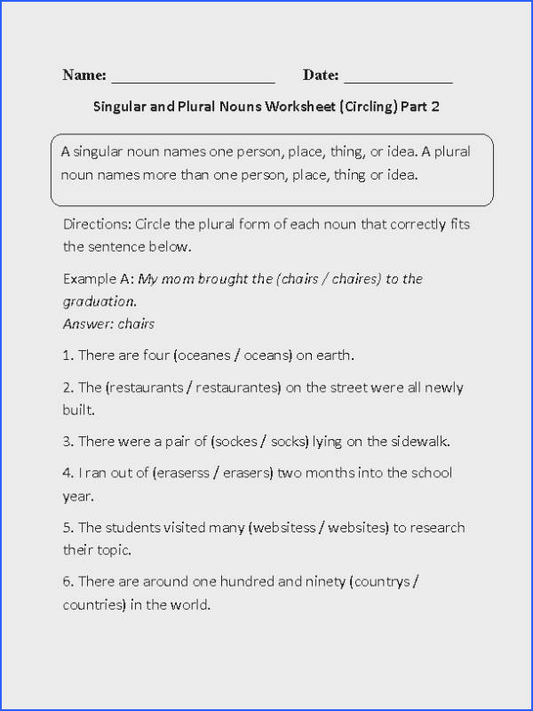 This challening singular and plural noun worksheet directs the student to circle the plural form of each noun that correctly fits the given sentences