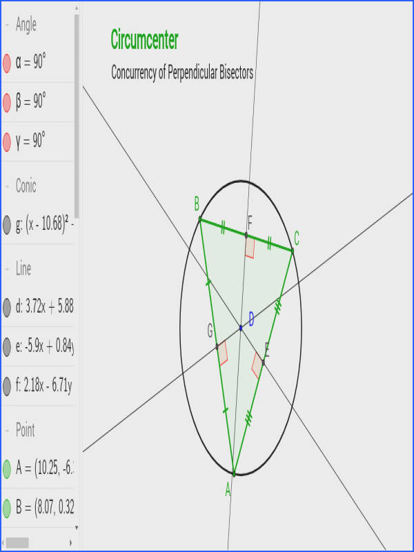 Where is the circumcenter located in an acute triangle An obtuse triangle A right triangle