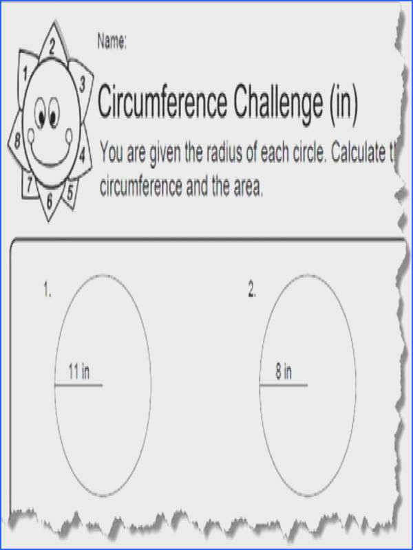 Circumference Worksheets with Answers Image Below area and Circumference Of A Circle Worksheet