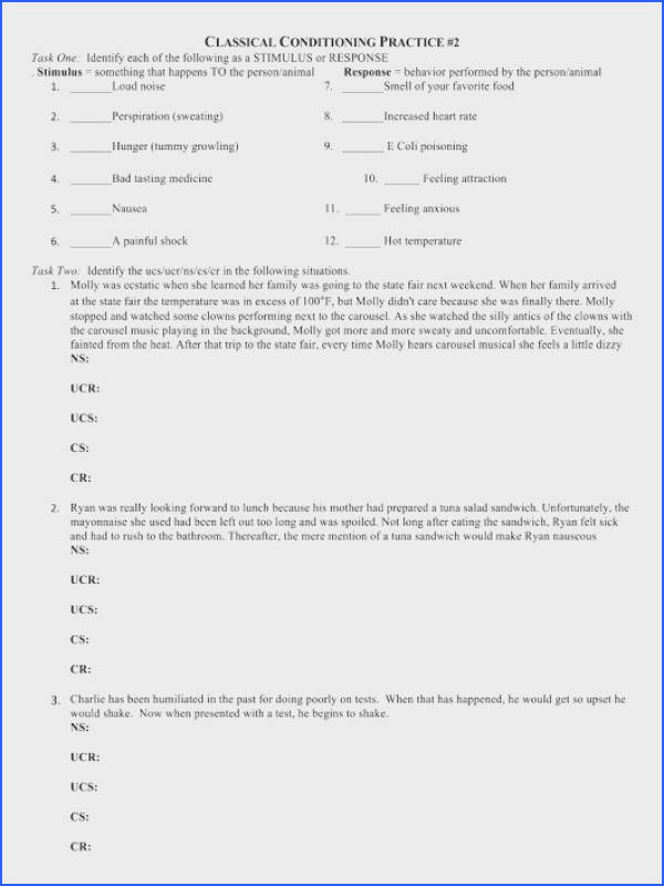 Classical Conditioning Practice 2 Worksheet Image Below Classical Conditioning Worksheet