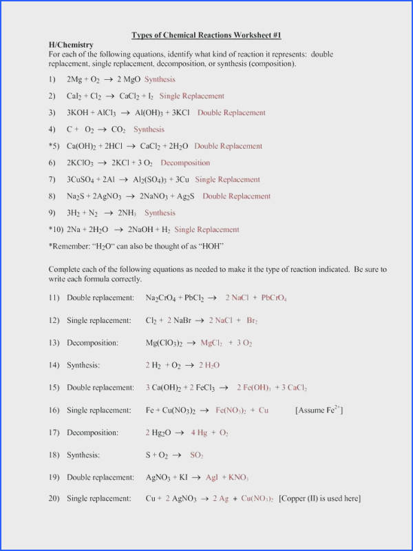 classifying chemical reactions worksheet answers and chemical reaction types worksheet answers stunning classifying chemical reactions worksheet