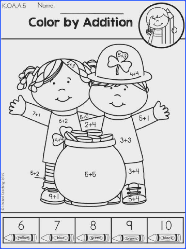 Color by Addition Part of the St Patrick s Day Kindergarten Math Worksheets Packet