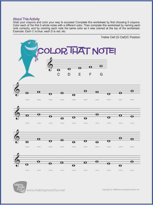 Color that Note Free Note Name Worksheet Treble Clef C Image Below Note Naming Worksheets