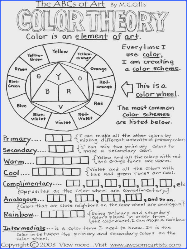 The ABCs of Art Color theory worksheet