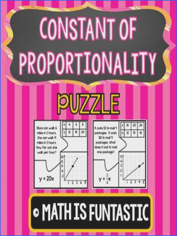 Constant of Proportionality Puzzle Words Tables Graphs & Equations