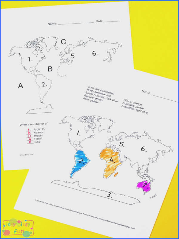 Continents and oceans worksheets for kids
