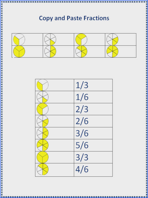 Copy and Paste Fractions Worksheet