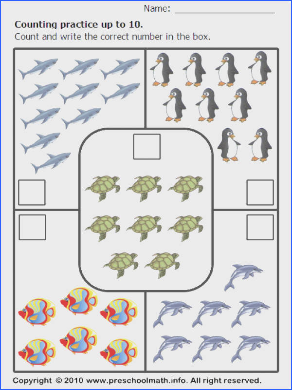 Printable counting practice math worksheets with color pictures for preschool children and kindergarten kids Counting number of fish under water creatures