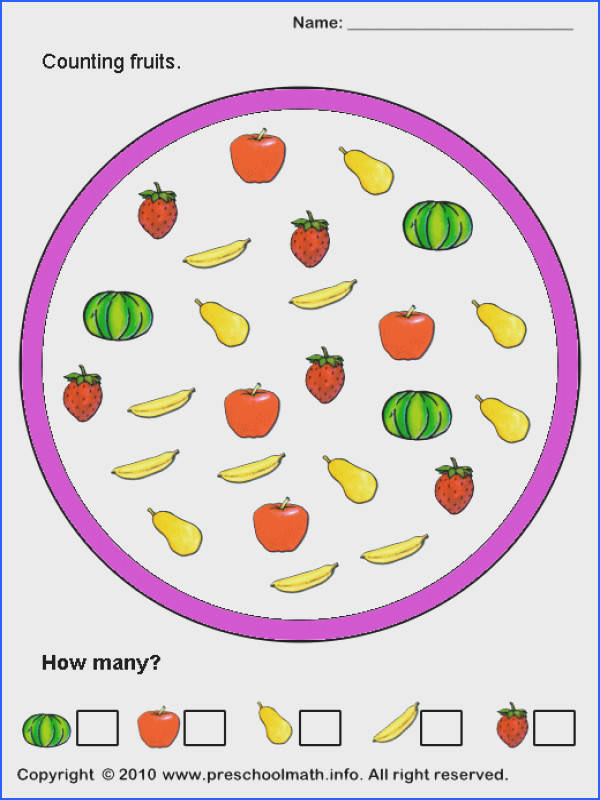 Printable counting practice math worksheets with color pictures for preschool children and kindergarten kids Counting different type of fruits and write