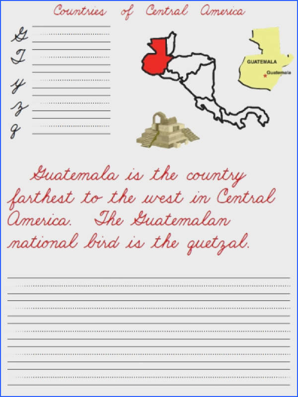 Countries of Central America between Mexico and South America FREE handwriting worksheets