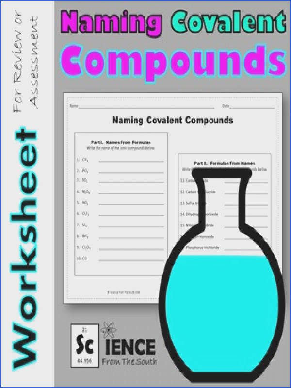 Naming Covalent pounds Worksheet for Review or Assessment