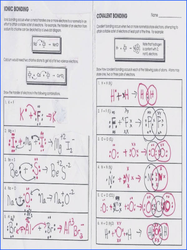 Covalent Bonding Worksheet Answers Switchconf