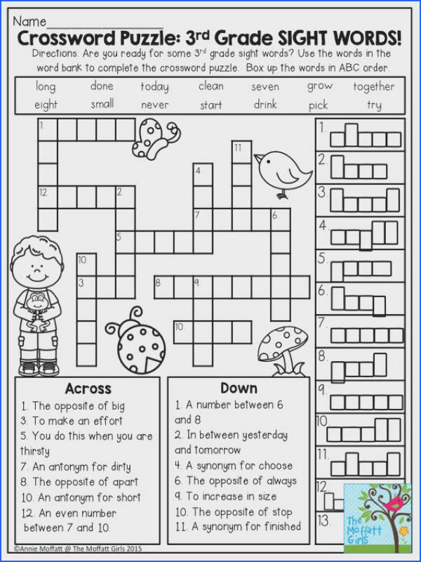 Crossword Puzzle 3rd Grade SIGHT WORDS Great introduction to second grade students ready