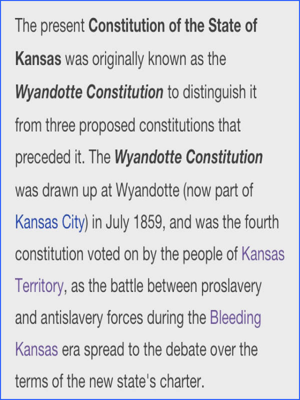 Current state constitution of Kansas the Wyandotte Constitution