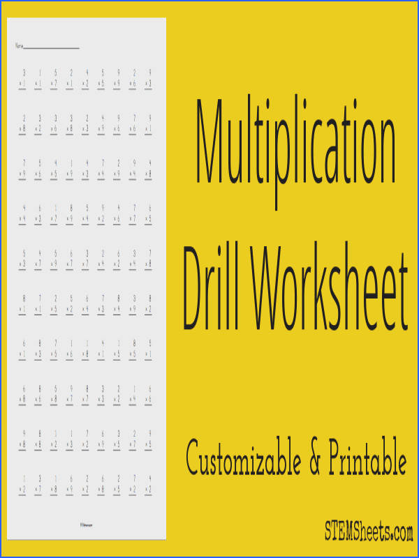 Customizable and printable multiplication drill worksheets with up to 100 problems on each Include multiplication