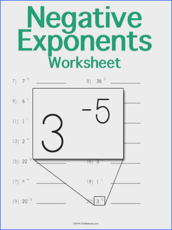 Customizable and Printable Negative Exponents Worksheet Math STEM Resources