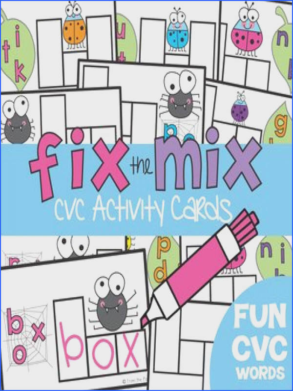 cvc Word Cards Fix the Mix Write n Wipe Cards Literacy Center
