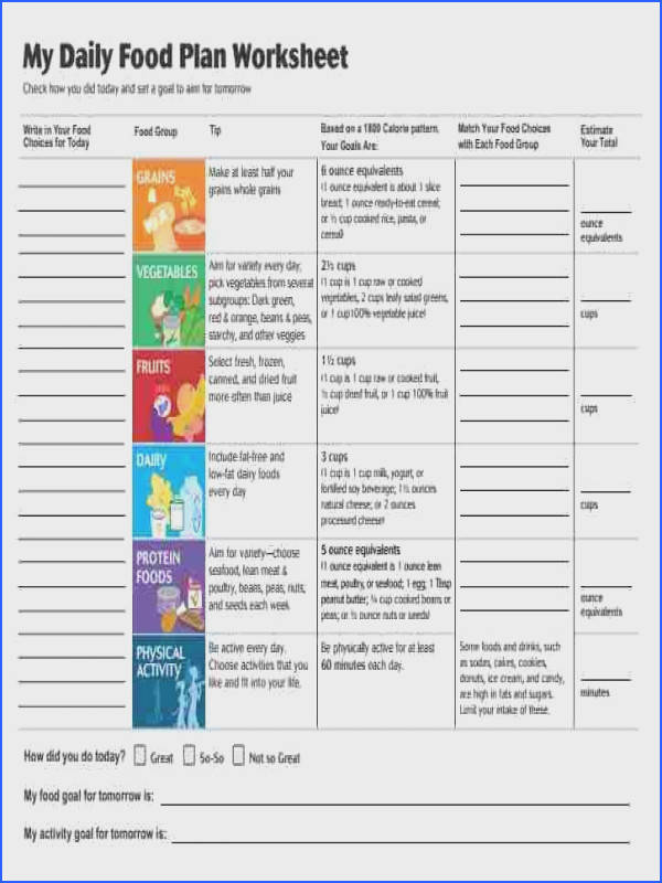 Daily Food Plan Worksheets from the USDA Choose My Plate website mealplanning…