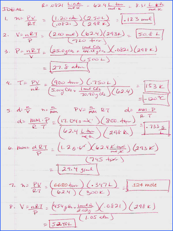 gas laws worksheet answers