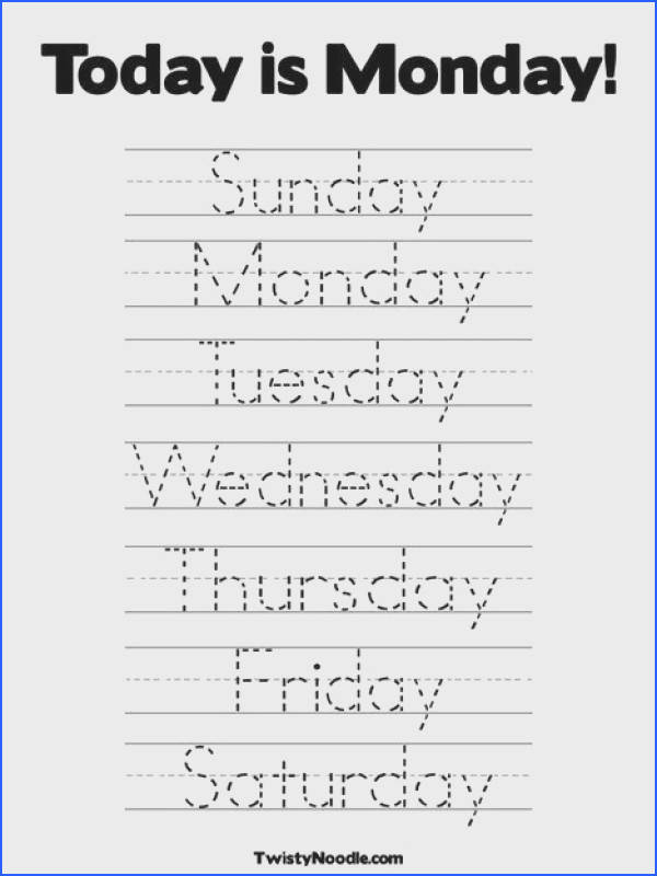 Days of the Week Coloring Page from TwistyNoodle · Letter Tracing WorksheetsCalendar