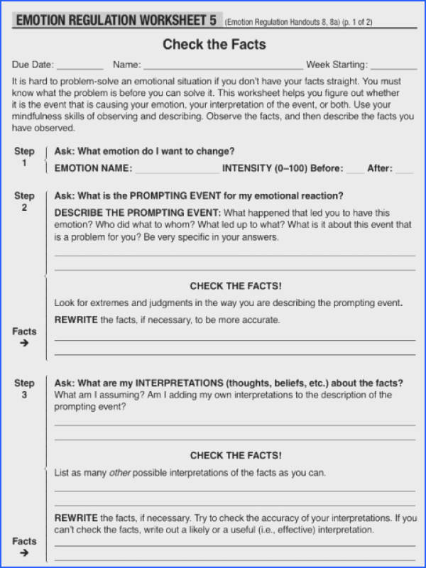 DBT Skills Group – Emotion Regulation Week 5 Checking The Facts