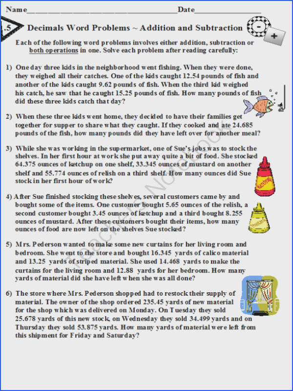 Decimals Word Problems Addition and Subtraction from DayWorks on TeachersNotebook 5 pages