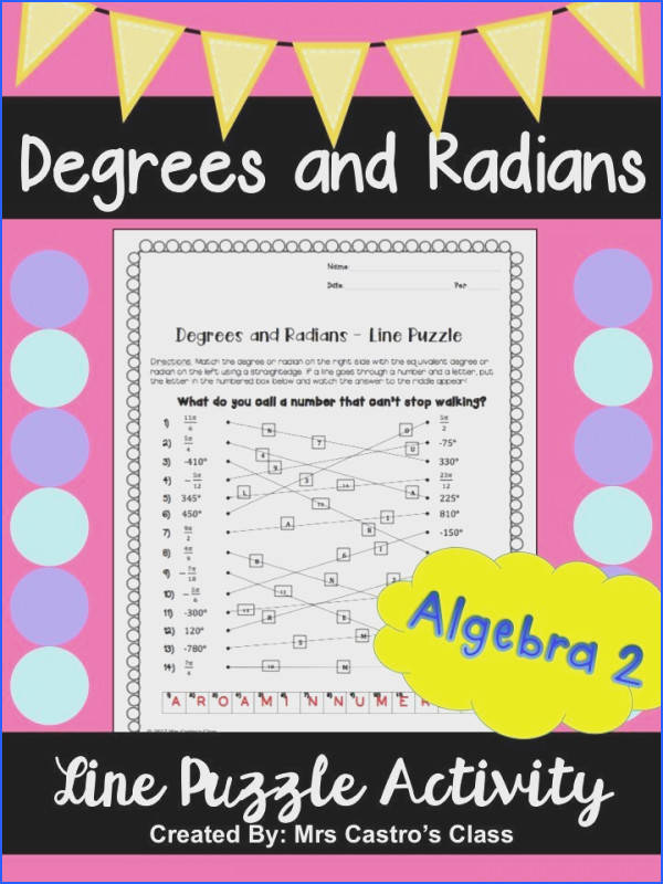 Degrees and Radians Activity for Algebra 2 or Precalculus