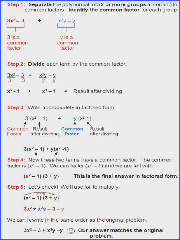 Factoring Polynomials Worksheet with Answers Algebra 2 – careless