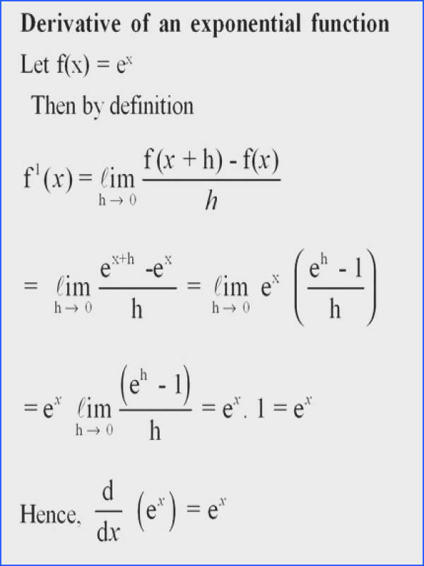Derivative of exponential function For more solutions to calculus problems log…