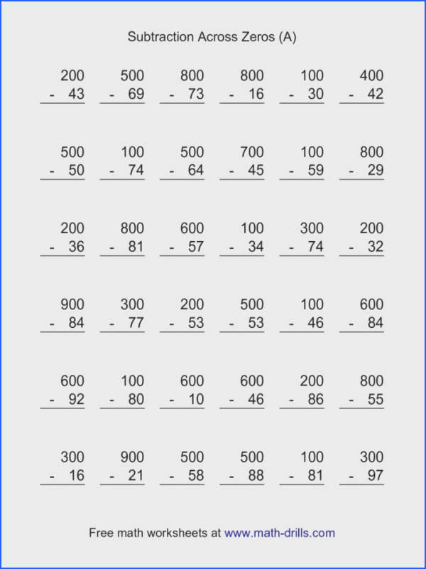 Subtraction Across Zeros Questions Subzeros236 00 Worksheet 4th Grade Subtracting Digits Answers Pdf Worksheets 2nd 830x1074