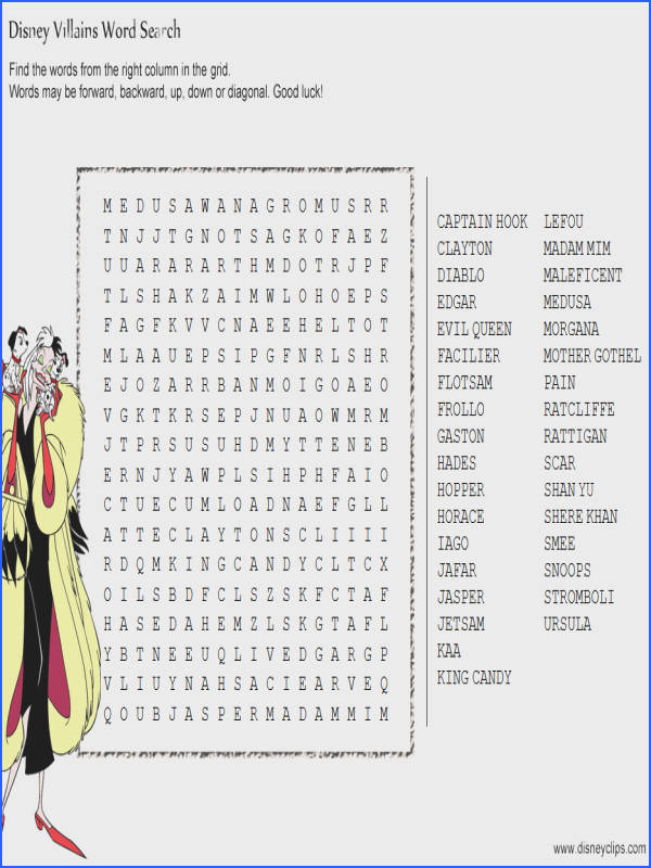 Search for hidden words in these fun printable puzzles featuring Disney Princesses Mickey Mouse and other Disney characters