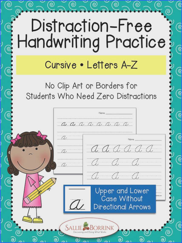Distraction Free Cursive Handwriting Practice Upper & Lower Case without Arrows