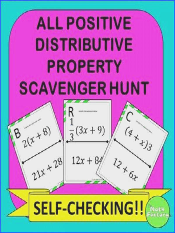 Distributive Property Scavenger Hunt All Positive Numbers Students practice the distributive property Instead of