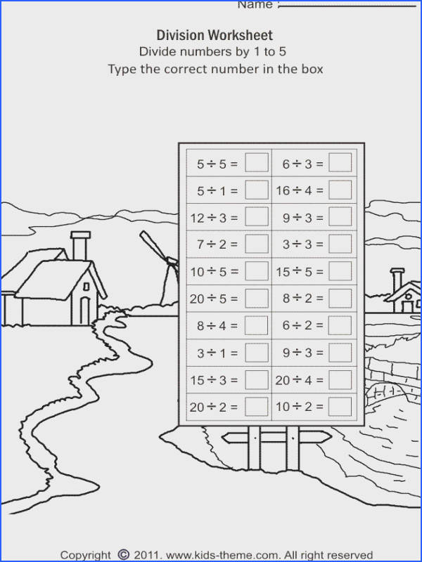 Free printable math worksheets on division basic division practice skill to divide numbers by 1 to by division math activities and worksheet for kids in