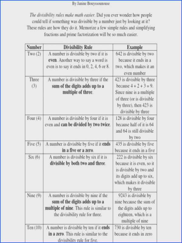 divisibility rule worksheet rules of by sally a part of under Math Worksheet