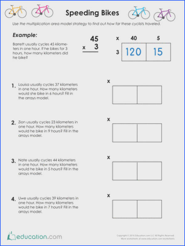 Division Using Area Model Worksheets