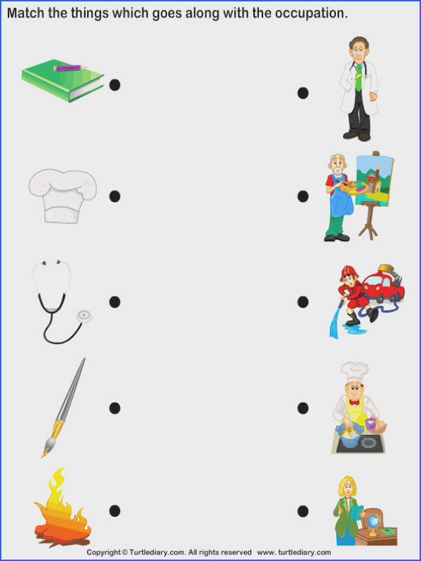 Download and print Turtle Diary s Match Objects with Occupation worksheet Our large collection of ela