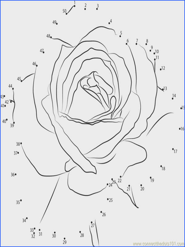 Download or print Petite Rose Flower dot to dot printable worksheet from Flowers Petite