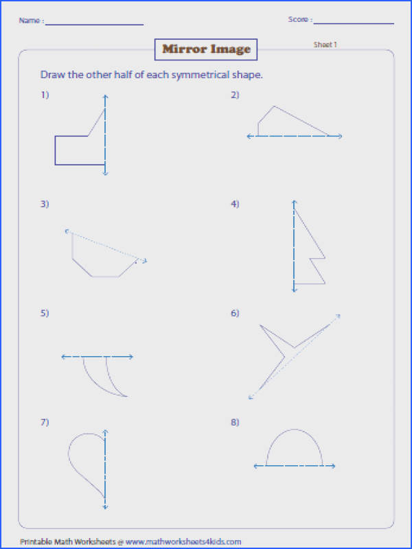 Draw the Mirror Image Transformation Worksheets Image Below Lines Of Symmetry Worksheet