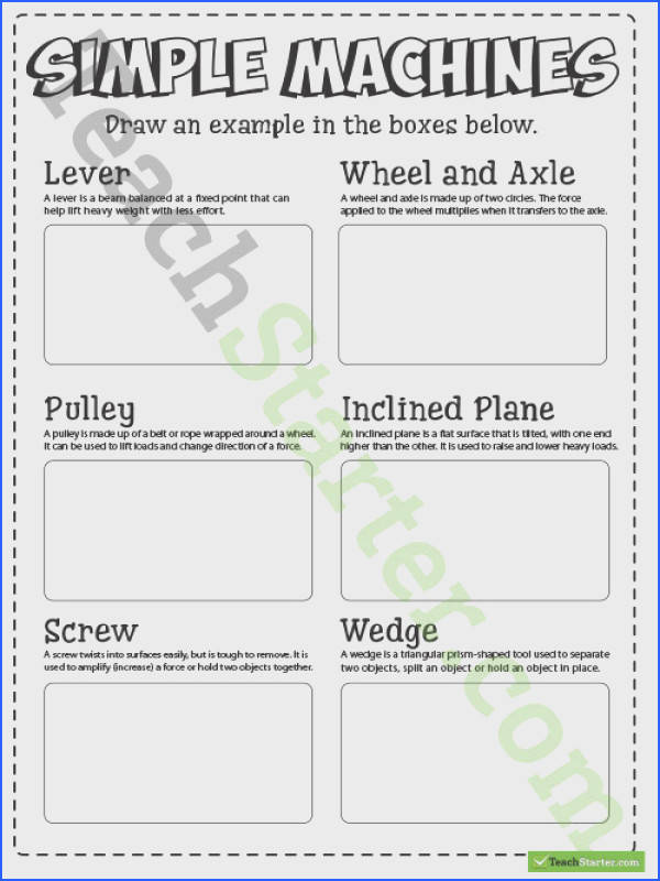 Teaching Resource A worksheet to use in the classroom when learning about simple machines and what they look like