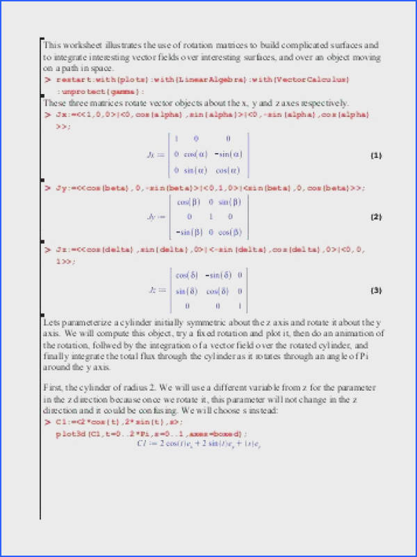 This worksheet illustrates the use of rotation matrices to build