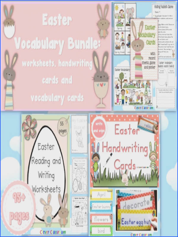Easter Vocabulary BUNDLE Worksheets Vocabulary Cards and Handwriting Cards