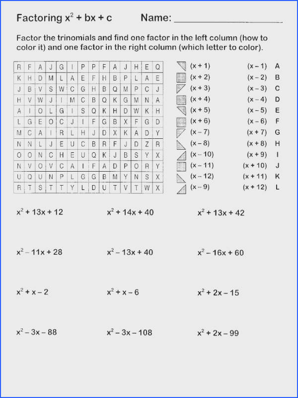 Easy Factoring Search and Shade Algebra Pinterest Image Below Worksheet Factoring Trinomials Answers Key